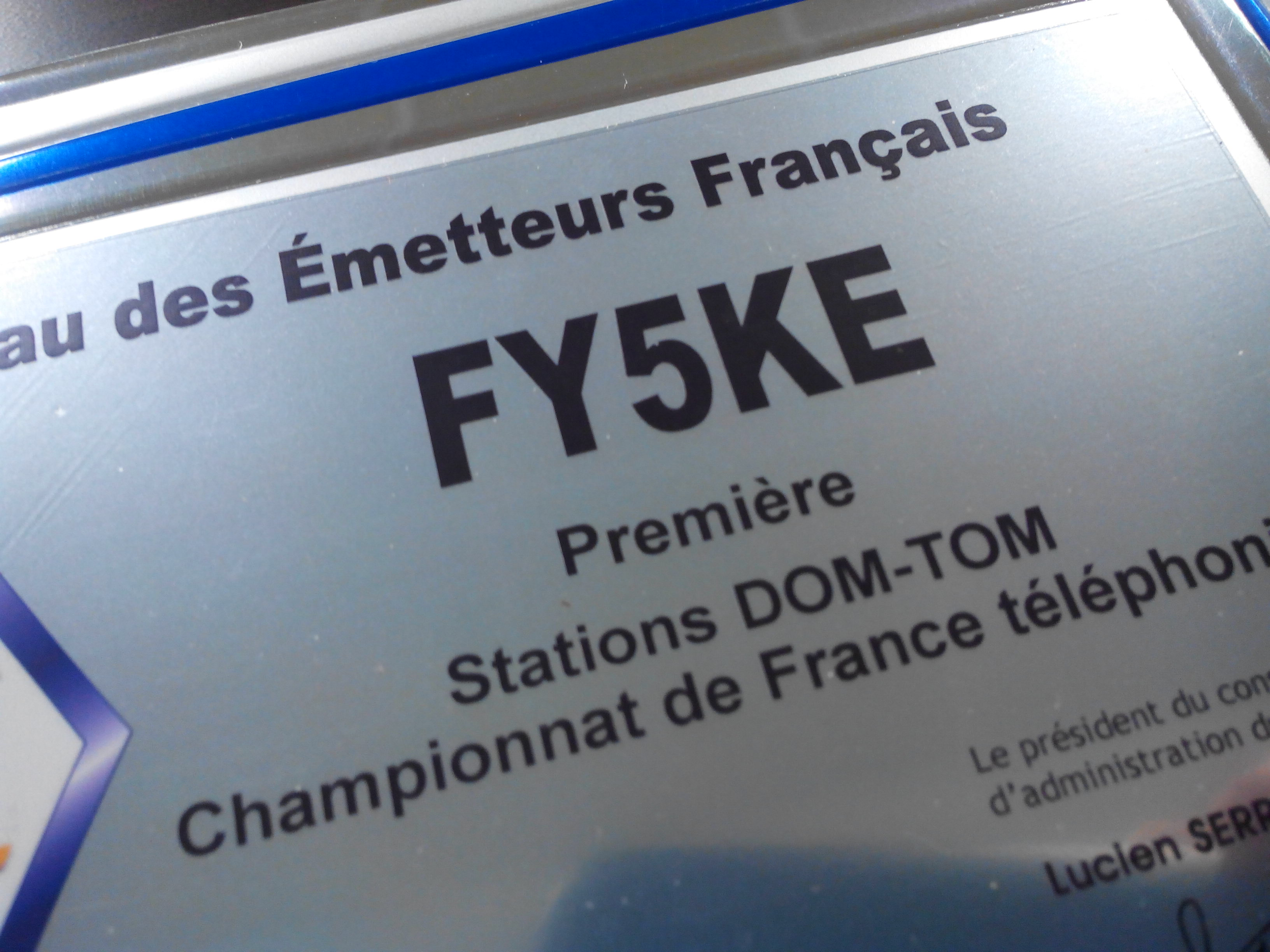 Champion de France DOM TOM FY5KE 2014