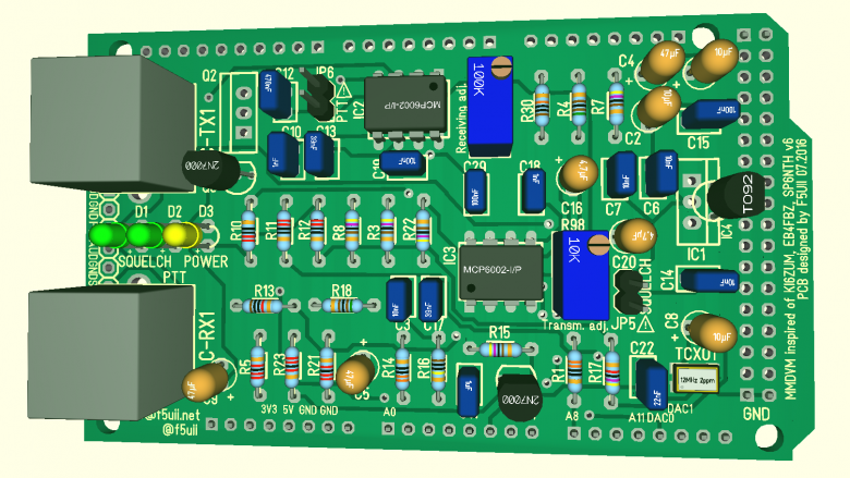 MMDVM board top view with its components TO92