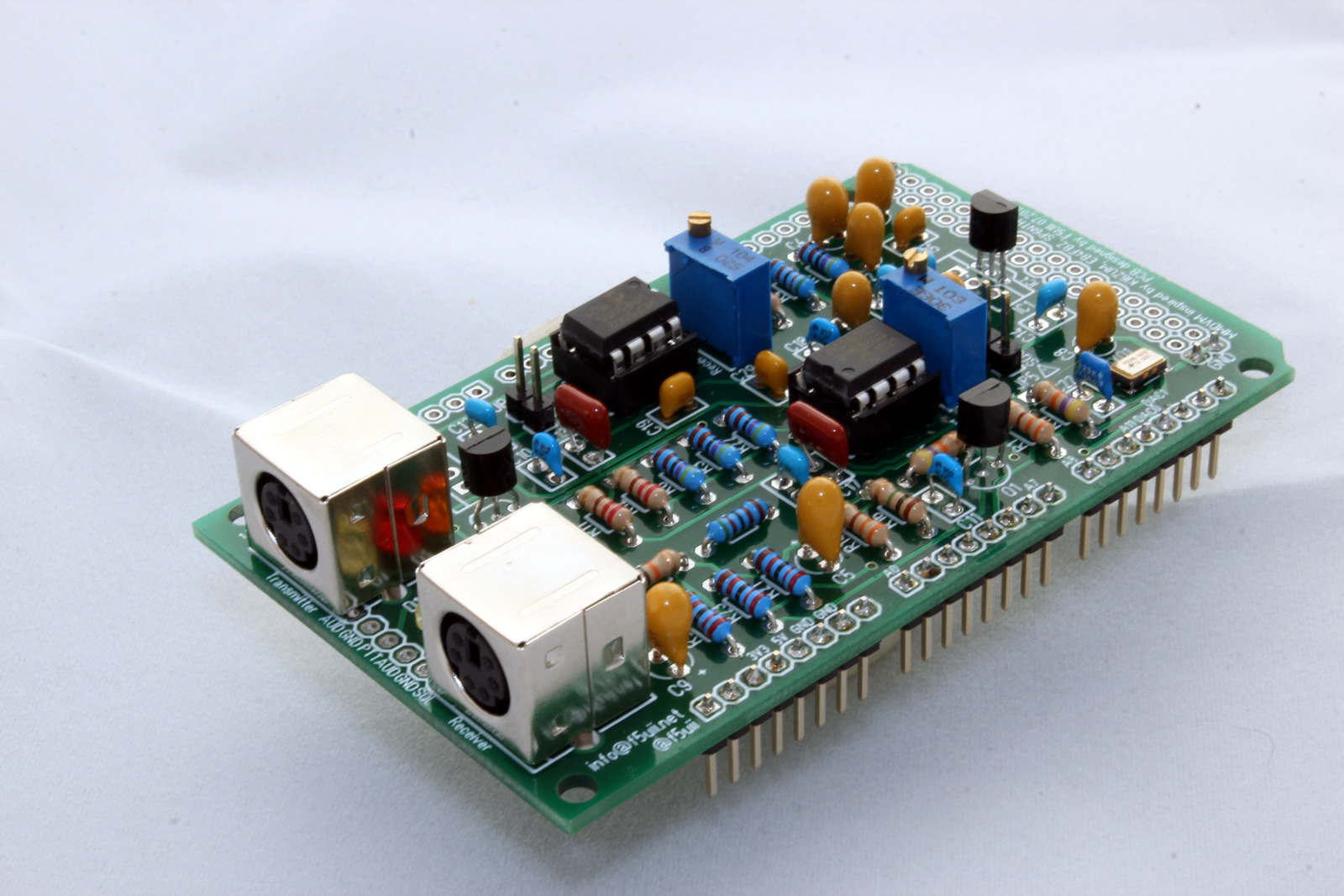 MMDVM board mounted with discrete components