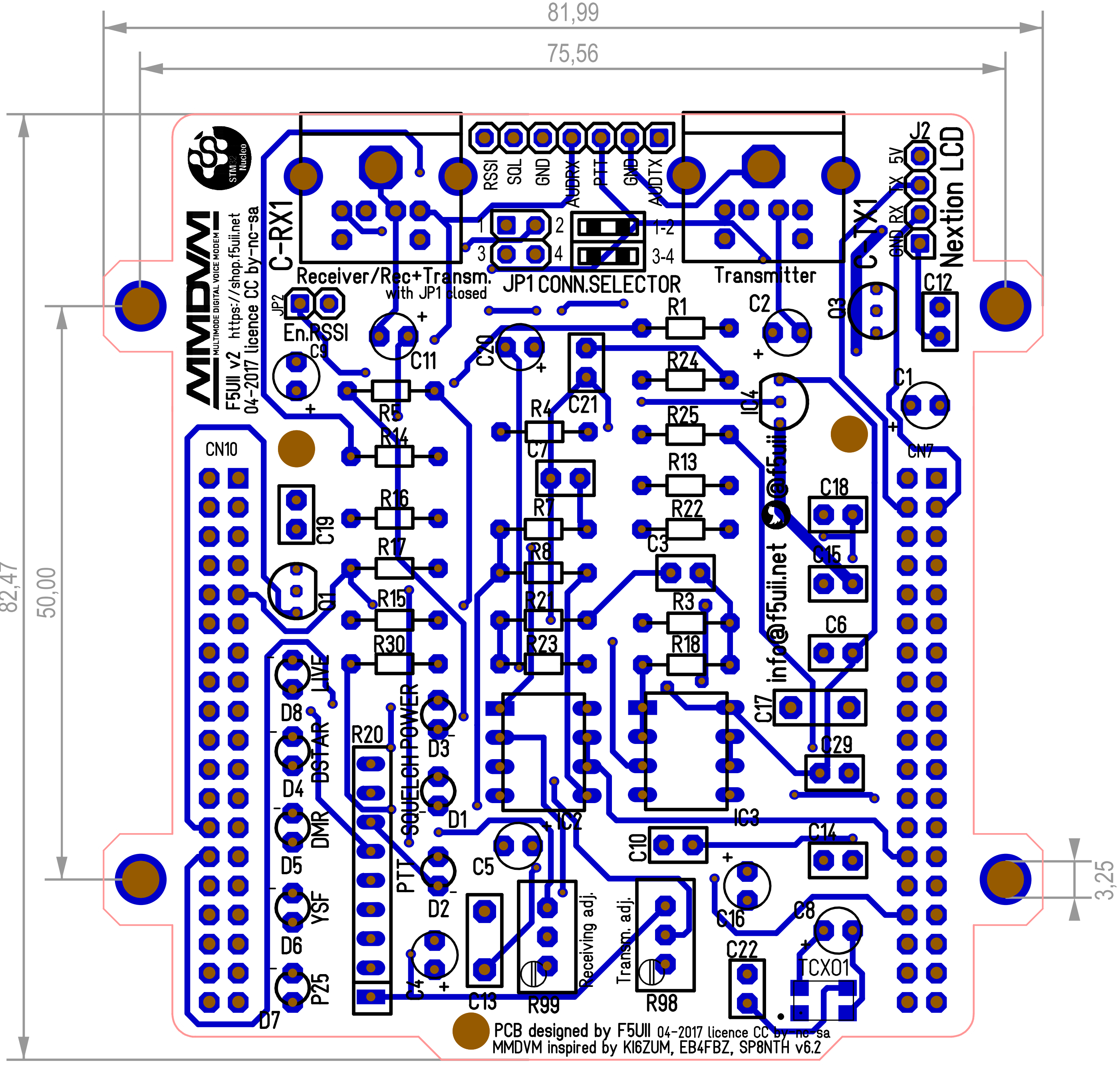 Mmdvm Shield For Stm32 Nucleo Diagram Pcb Gerber Bom P25 Wiring Top View Dimensions In Mm