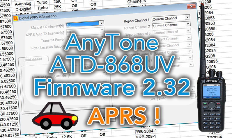 New firmware 2 32 for Anytone ATD-868UV including APRS