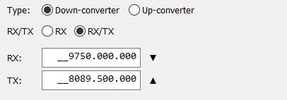 Valeurs RX et TX down-converter SDR Console QO100