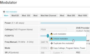 PlutoDVB Right click on modulator profiles