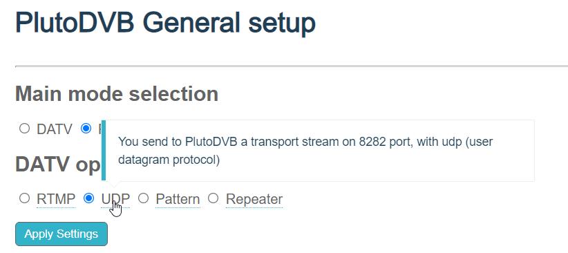 PlutoDVB UDP 7272 port